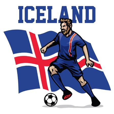icelandic soccer player with iceland flag background Illusztráció