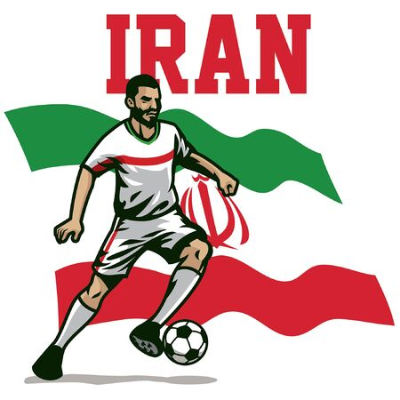 iranian soccer player with iran flag background