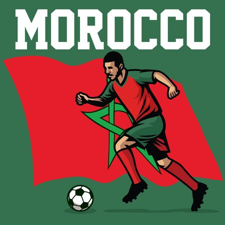 morocco soccer player with flag background
