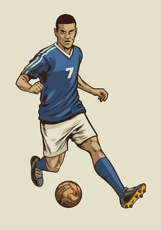 soccer player in hand drawing style dribbling the ball