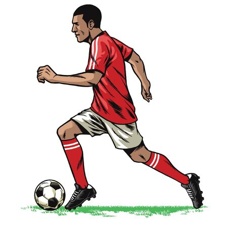 hand drawing of soccer player running while dribble the ball