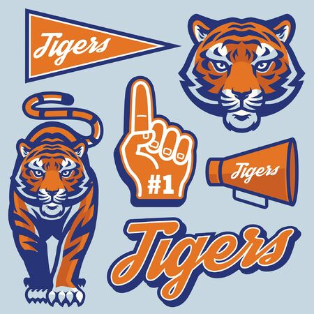 tiger mascot in sporty style set bundle Stock Illustratie