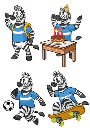 set of cute zebra character in various activities