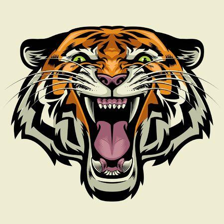 cabeza de tigre enojado viajando Ilustración de vector