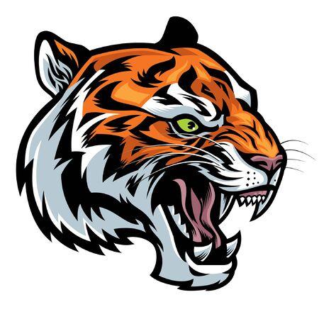 head of tiger roaring