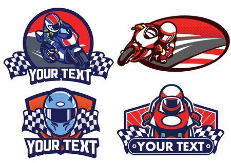 set of motorcycle racing badges design