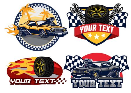 collection set of muscle car badges  イラスト・ベクター素材