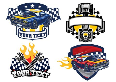 vector set of racing muscle car badges