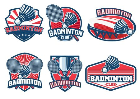 set bundle of badminton badge set  イラスト・ベクター素材