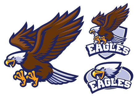 set bundle of bald eagle mascot