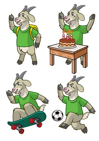 set cartoon of goat character