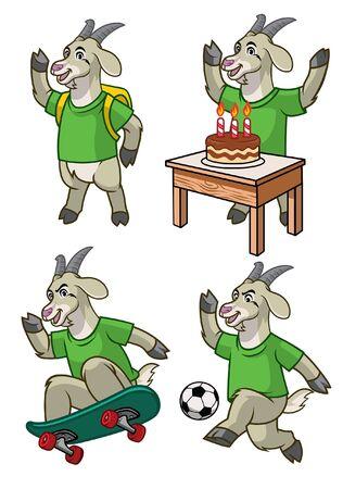 set cartoon of goat character