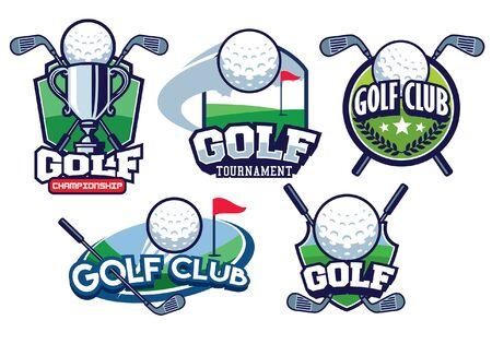 set bundle of golf badge design
