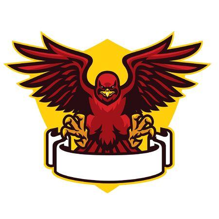 red hawk mascot spreading wings Ilustrace
