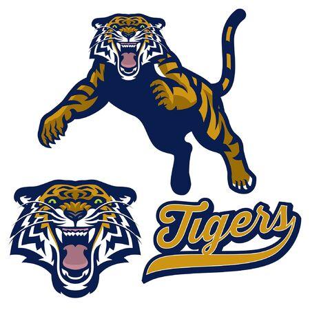 set of tiger mascot