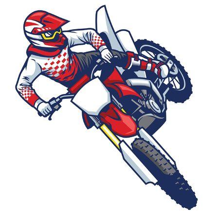 motorcrosser springt en doet staartzweeptruc Vector Illustratie