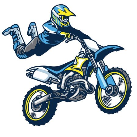 man riding motocross doing stunt by jumping