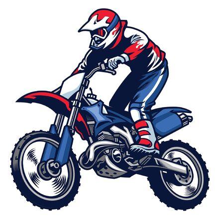 salto de carrera de motocross Ilustración de vector