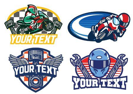 motorcycle race badge set