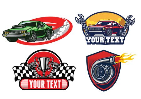 set of badge graphic of muscle car