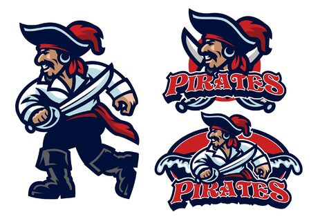 ensemble de mascotte de pirate