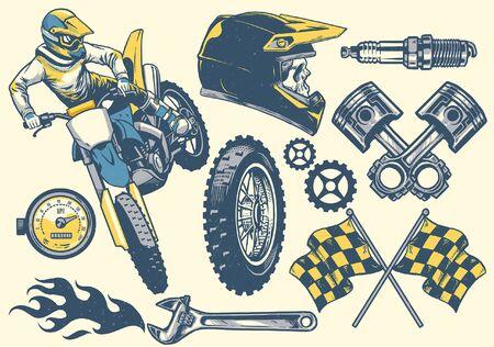 conjunto de dibujado a mano de diseño de motocross