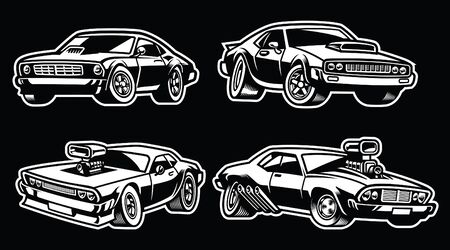 set bundle of muscle car Illustration