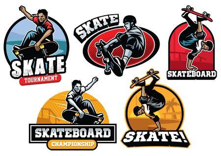 set bundle of skateboarding concept designs