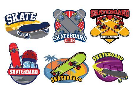 set bundle of skateboarding badge design  イラスト・ベクター素材