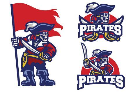 set mascot of skull pirate Ilustração
