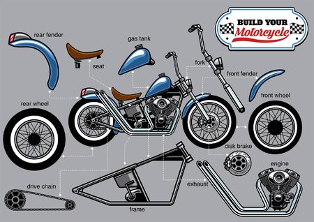 chopper motorcycle with separated parts