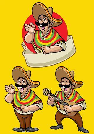 set of cartoon mascot of mexican man