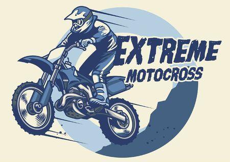 jumping motocross rider on his motorcycle Illustration