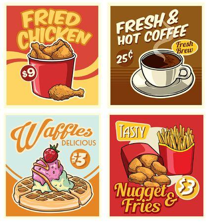 set of retro design menu of fast food