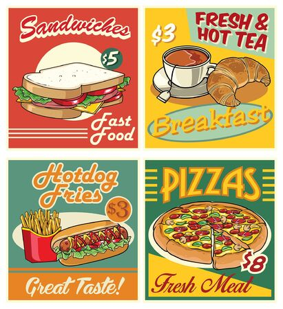fast food retro design of fast food in set collection