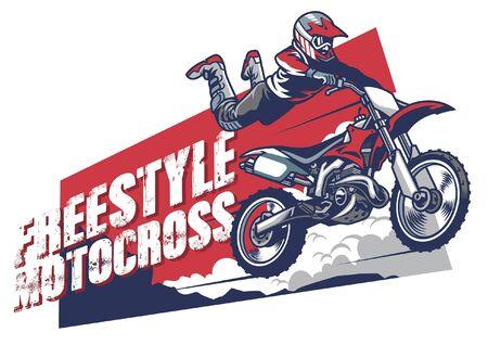 Projekt koszulki motocrossowej z zawodnikiem skaczącym na motocrossie