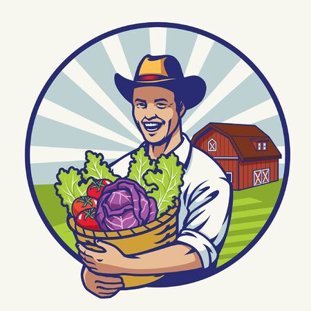 happy farmer in farm land hold a bucket full of vegetables