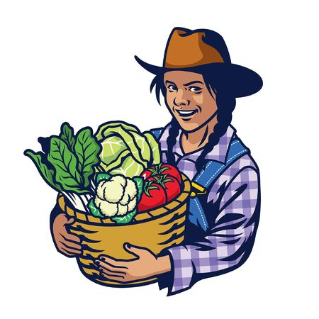happy woman of farmer hold bucket full of vegetables