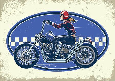 vintage design of lady biker riding chopper motorcycle