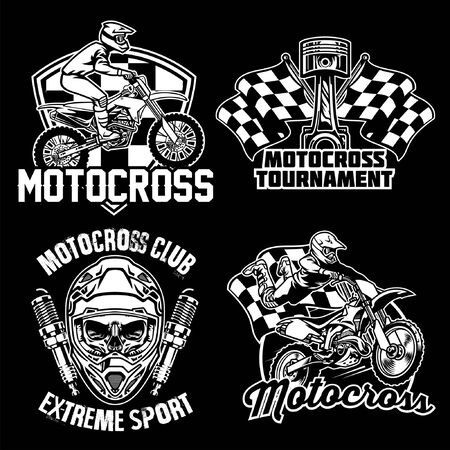 set bundle of badge collection of motocross design