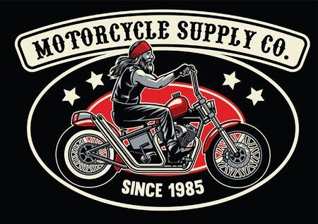 t-shirt design of man riding chopper motorcycle Illustration