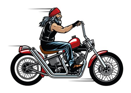 bearded biker riding chopper motorcycle
