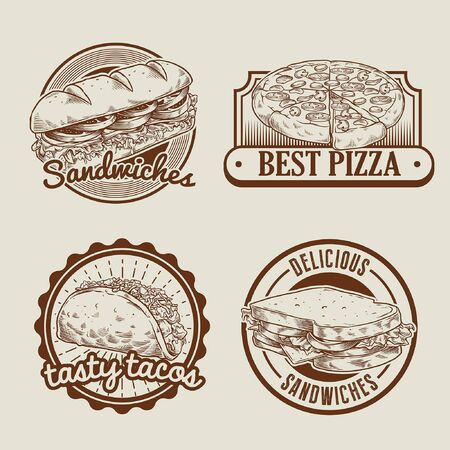 set collection of fast food design in vintage style