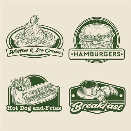 emblem design set of fast food Illustration