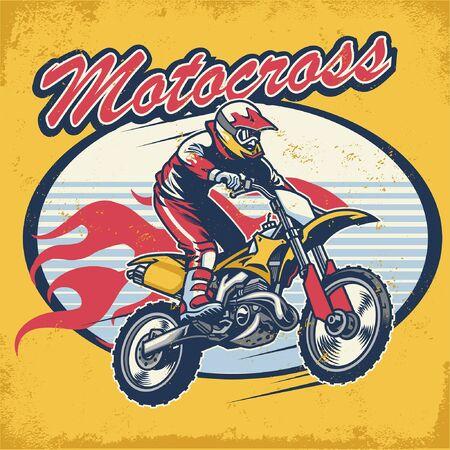 vintage style t-shirt design of motocross race