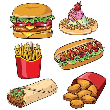 set of various fast food in vintage style Vektorové ilustrace