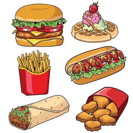 set of various fast food in vintage style