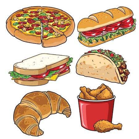 set of fast food in hand drawn style