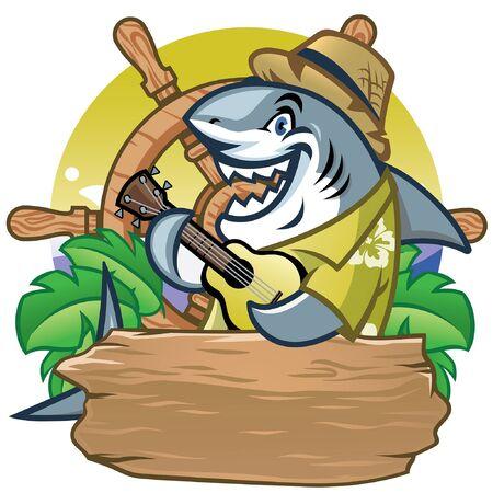happy cartoon shark in summer beach style