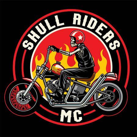 t-shirt design of skull riding chopper bikes Illustration